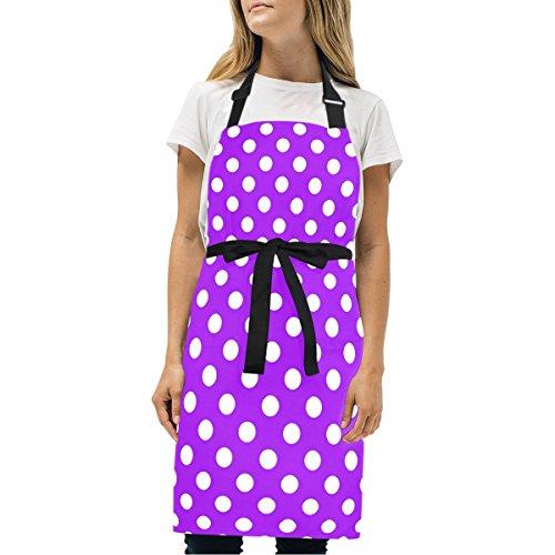 Naanle Retro Vintage Purple Polka Dot Pattern Kitchen Chef Cooking Salon Aprons for Women Men Vintage Pinafore Apron Dress