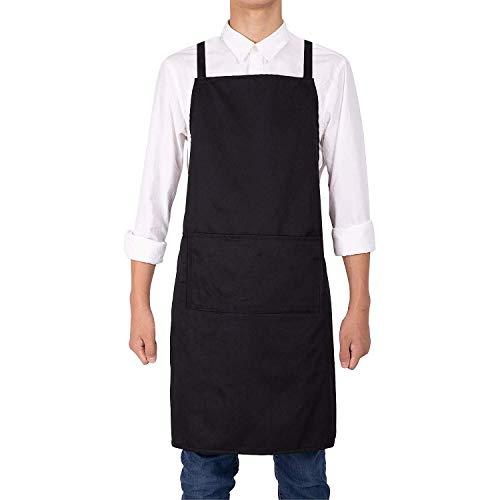 Noverlife Black Apron Waterproof Kitchen Cooking Chef Waitress Apron Unisex Work Protective Bib Apron Adjustable Cross Back Straps 2 Pockets Ideal for BBQ Bars Cafes Bistro Shop Salon