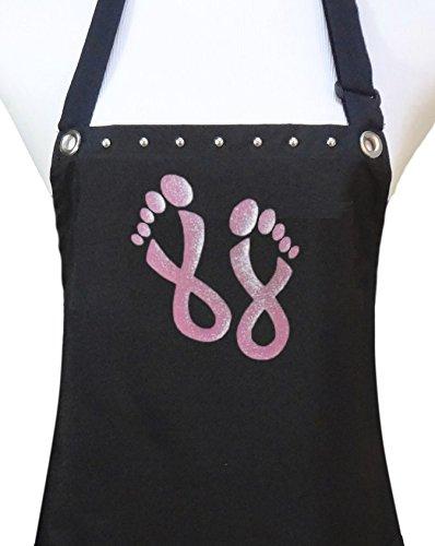 Trendy Salon Aprons Manicure Pedicure Nail Tech Apron Pink Ribbon Feet