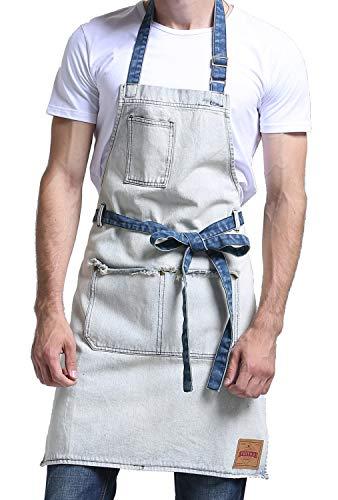 VANTOO Denim Artist Apron with 3 Pockets for Men Women-Jean Painting Salon Apron-Adjustable Neck Strap-Extra Long Ties for Friends FamiliesWhite