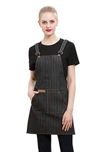 Feiyy Denim Cross-Back Chef Bib Apron with Pockets for Men and Women Black Stripe