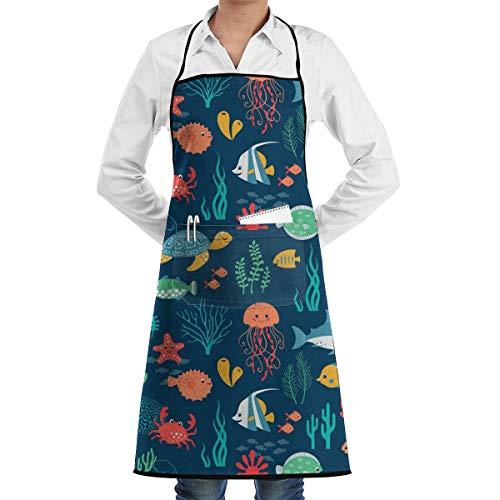 Kitchen Chef Bib Apron Sea Turtle Background Neck Waist Tie Center Kangaroo Pocket Waterproof