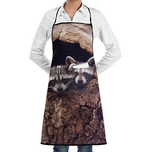 Sjiwqoj8 Baby Raccoon Sitting in A Tree Hole Wild Animal Kitchen Apron - Mens and Womens Professional Chef Bib Apron Home Kitchen Cooking Baking Gardening Apron