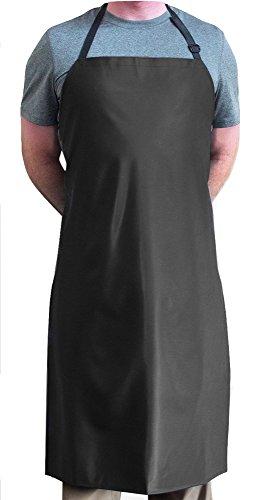Tuff Apron Black Heavy Duty Waterproof with Neck Adjuster Durable Long Kitchen Dishwashing Bib 41 x 27 PVC Vinyl
