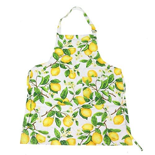 JETEHO Adjustable Cotton Kitchen Apron with Pockets Lovely Lemon Tree Apron for Ladies