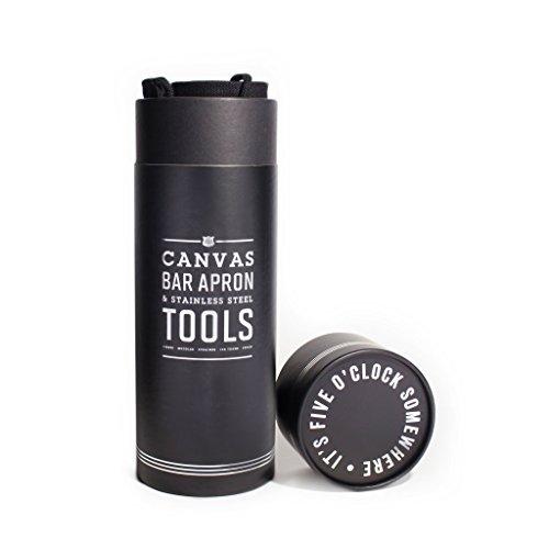 Izola Canvas Waist Apron with Pockets and 5 Piece Expert Bar Tools - Black