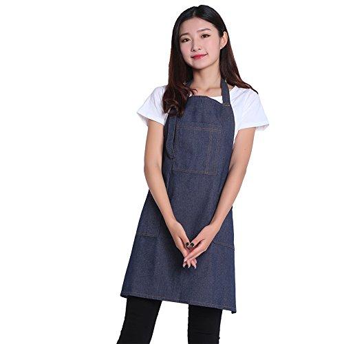 DRELK Adjustable Denim Jean Aprons with 3 Pockets for Women Men Chef Barista Bartender Painter in Cooking Kitchen Bistro CafeDenim Jean 2One Size