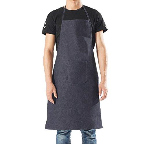 YOLOPLUS Denim Bib Apron with Pockets for Men and Women 100 Cotton Crafting Shop Apron Easy Care Designs Denim Blue