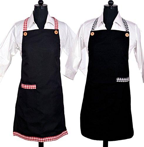 Black Kitchen Apron Set of 2 Combo