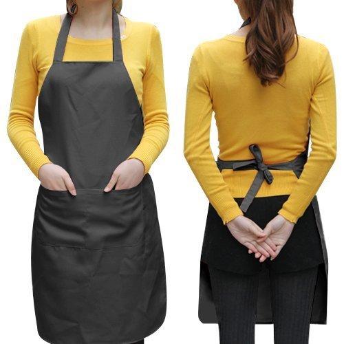 JASSINS Unisex 2 Pocket Black Kitchen Apron BibBib Apron in Medium