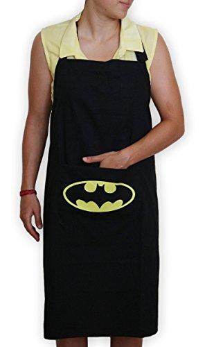 Kitchen stars Apron Bib With Pocket 100 Black Cotton Batman Character Home Cook Machine Washable
