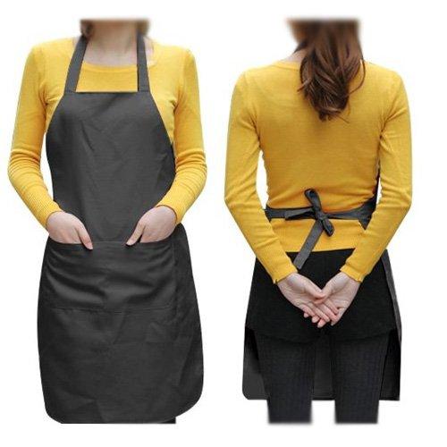 Lqchl Adjustable Apron Bib Uniform With 2 Pockets Solid Black Kitchen Apron Bib One Size In Medium