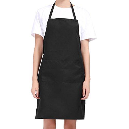 Unisex Medium Size Black Kitchen CookingBaking Apron Bib with 2 Front Pocket