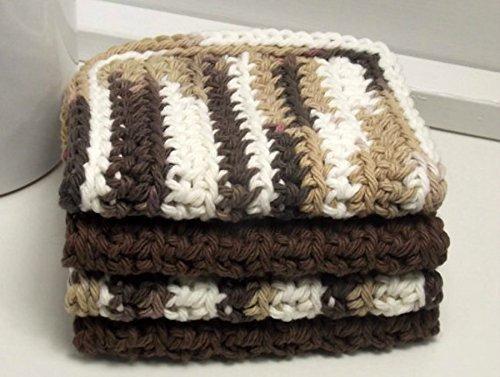 Earthtone 4 Inch x 7 Inch Rectangular Crochet Cotton Dishcloths Set of 4 Brown Tan White