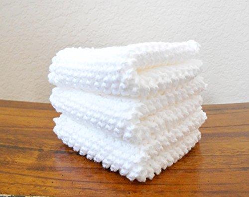 Knit White Cotton Dishcloths Set of Three