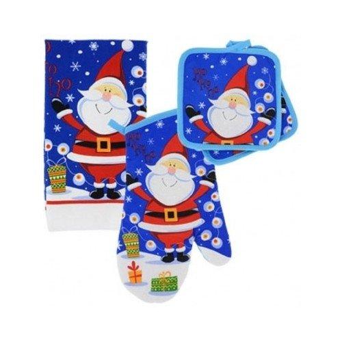Christmas Holiday Kitchen Towel Oven Mitt Potholder Jolly Santa Claus 4 Pc Set
