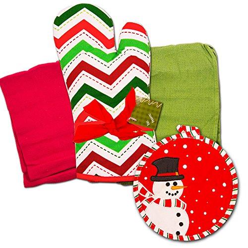 Christmas Kitchen Towels Set -- Holiday Oven Mitt with Festive Dish Towels Christmas Kitchen Decorations Holiday Set