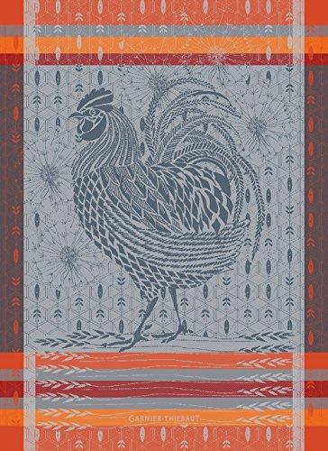 Garnier Thiebaut Le Coq Design Orange Rooster French Jacquard KitchenTea Towel 100 Percent Cotton