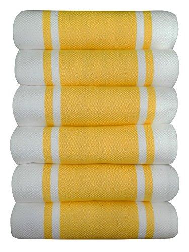 Dish Kitchen Towels Vintage Striped 100 Cotton Tea Towel 20 x 28 inch Set of 6 Yellow