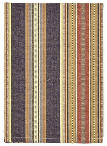 100 Cotton Blue Red Brown Striped 20x28 Dish Towel Set of 3 - Prairie Navy