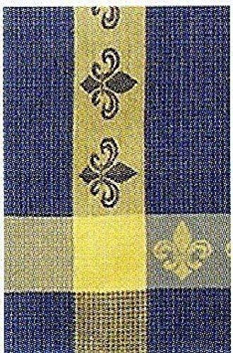 100 Cotton Blue Yellow 20x28 Dish Towel Set of 6 - Fleur De Lis Denim