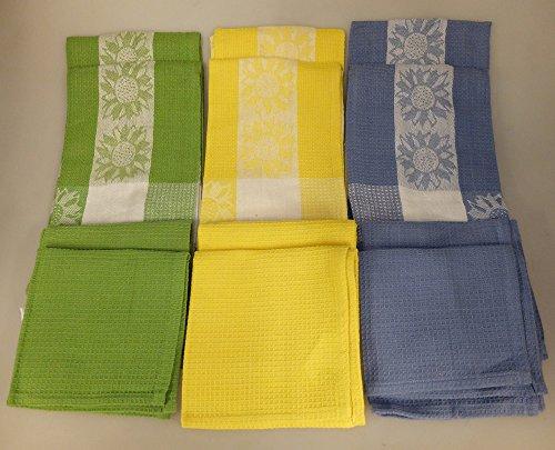 12 Piece Sunflowers Jacquard Dish Towel and Dish Cloth Set - GreenYellowBlue