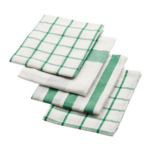 IKEA ELLY White Blue Dish Towels Set of 4