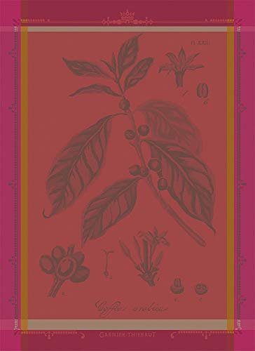 Garnier-Thiebaut Café Botanique Fuchsia Coffee Bean Plant French Jacquard KitchenTea Towel