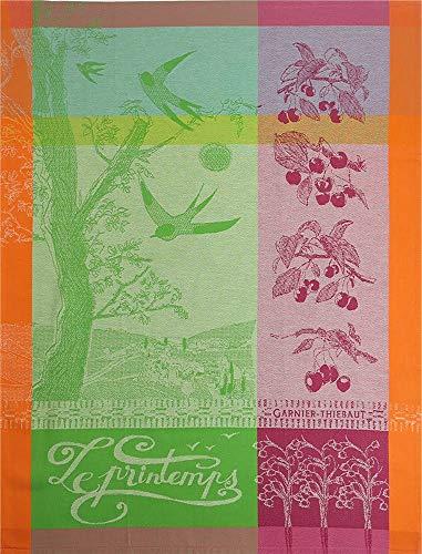 Garnier-Thiebaut Printemps Springtime Limited French Jacquard Kitchen Towel 100 Percent Cotton 22 Inches x 30 Inches