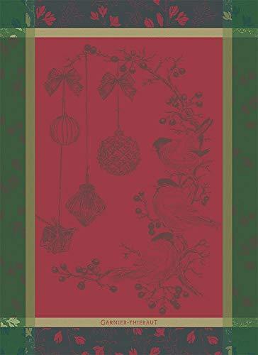 Garnier-Thiebaut Roitelets Christmas Songbirds Noel French Jacquard KitchenTea Towel