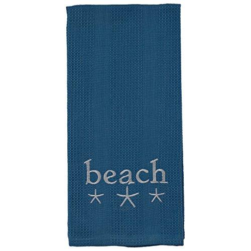 Blue Beach Sea Starfish Trio 19 x 28 Inch Embroidered Cotton Waffle Dish Towel