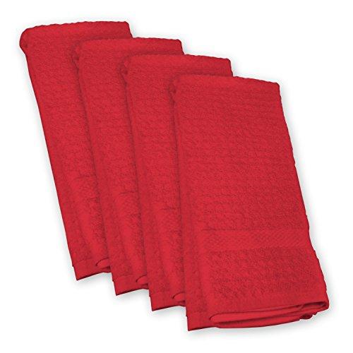 Solid Waffle Dishtowel Set Set of 4 Red