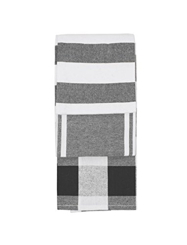 GOURMET PRO GPro 3 PC Tea Towel Set Kitchen 16 x 26 Grey 3 Piece