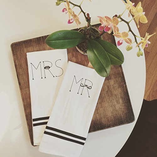 MKT ST Mr Mrs 100 Cotton Tea Towel Set -- Perfect for Housewarming Wedding Birthday Gift