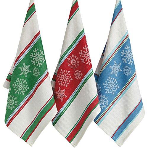 DII Snowflake Jacquard Dish Towels - Set of 3
