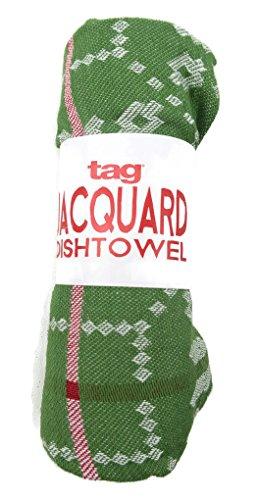 Holiday Snowflake Jacquard Dishtowel Tag 18 X 26 Green White Red