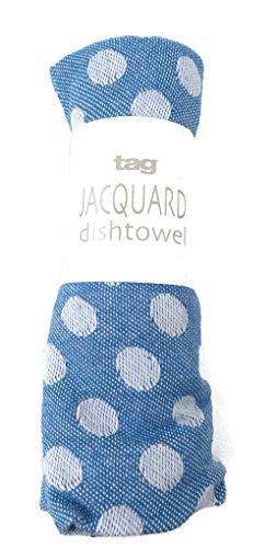Polka Dot Jacquard Dishtowel Tag 18 X 26 Blue