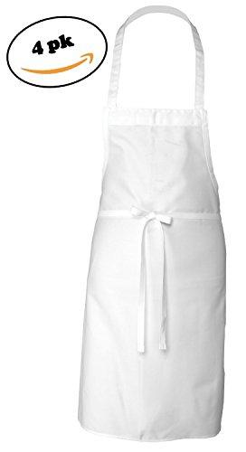 Adult Men's Women's Unisex Chefs Adjustable Extra Long Ties Professional Commercial Grade White Bib Apron 4PK