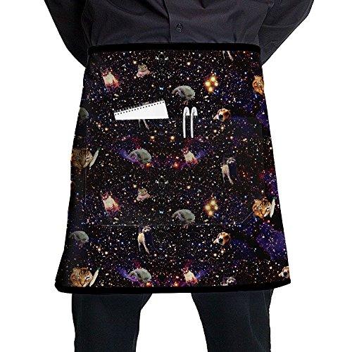 Space Cat Kitty Dog Unisex Waist Tie Half Bistro Apron With Pockets