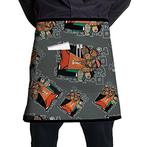 Gangsta Rapper Adjustable Chef Half Aprons With Pockets