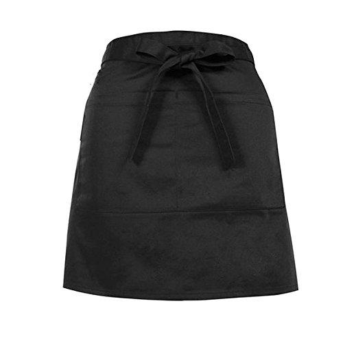 HugeStore Unisex Black Chef Half Apron Waist Apron Bar Apron Waitress Apron Waiters Apron with Pocket