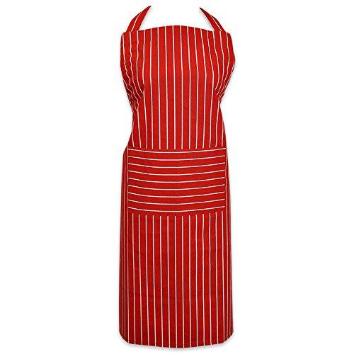 DII 100 Cotton Professional Stripe Bib Chef Apron Unisex Restaurant Kitchen Apron Adjustable Neck Strap Waist Ties Machine Washable Front Pocket Perfect for Cooking Baking BBQ - Tango Red