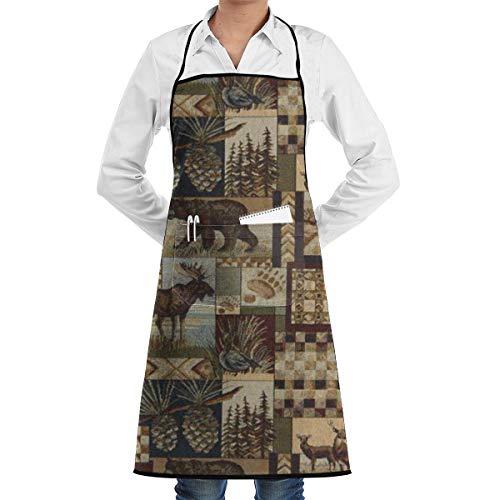 NRIEG Deer Bear Pineapple Tree Pattern Faction Unisex Kitchen Cooking Garden Apron£¬Convenient Adjustable Sewing Pocket Waterproof Chef Aprons