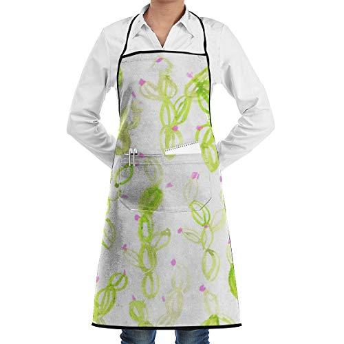 NRIEG Desert Cactus Pattern Art Faction Unisex Kitchen Cooking Garden Apron£¬Convenient Adjustable Sewing Pocket Waterproof Chef Aprons