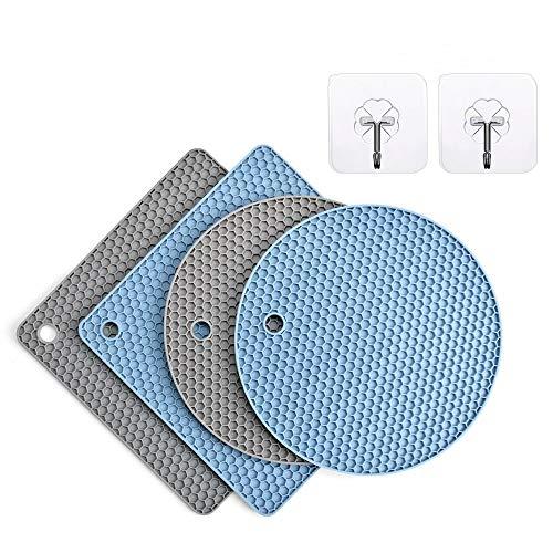 Silicone Trivet Mats4 Packs Grey Blue Hot Pot HoldersHeat Resistant Mats for OvenHot Pot2 Squared  2 Round Pot Holders