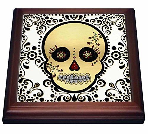 3dRose trv_175370_1 Sugar Skull Gold and Black Trivet with Ceramic Tile 8 by 8 Brown