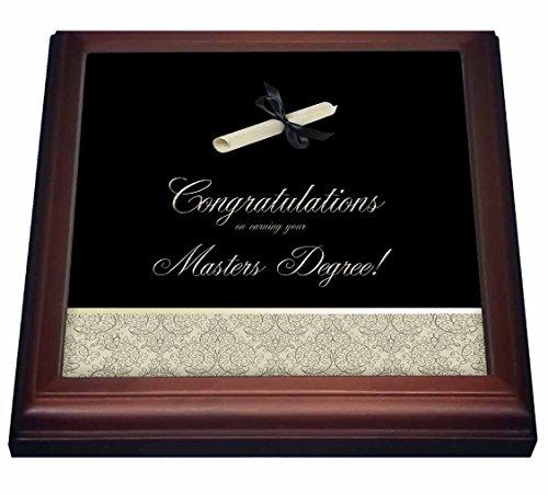 3dRose trv_234549_1 Congratulations Masters Degree DIPLOMA Damask Gold black Trivet with Ceramic Tile 8 x 8 Natural