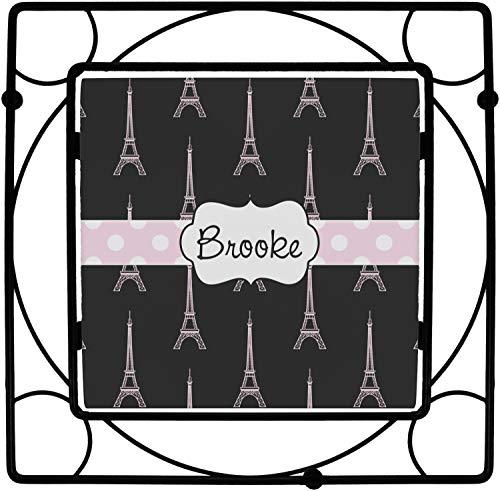 Black Eiffel Tower Square Trivet Personalized