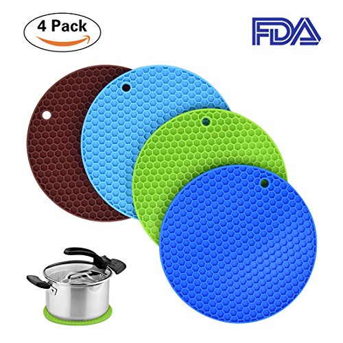 Silicone Pot HoldersSamshow 4 Set Trivet Mat Jar Opener Spoon Rest and Kitchen Trivet Non Slip Flexible Durable Heat Resistant Dishwasher Safe Kitchen Trivet and Pot Pads -Purple