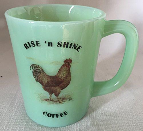 Rise N Shine Coffee - Chicken New Hampshire Red Rooster - Jade Jadeite Jadite Green Glass Coffee Mug - USA - American Made